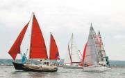 Sortis de la grande rade, quelques voiliers de la Fish and Ship's, avec en première ligne, celui de Jean Lecarpentier, Président du Yacht Club cherbourgeois